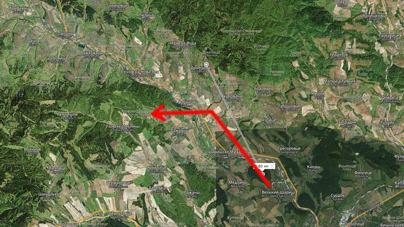 траектория полёта на карте